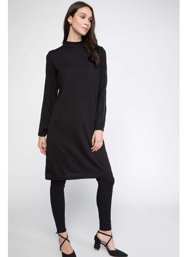 DeFacto Kolları Taş Şerit Detaylı Triko Tunik Siyah